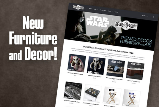 Star Wars themed furniture, art and decor