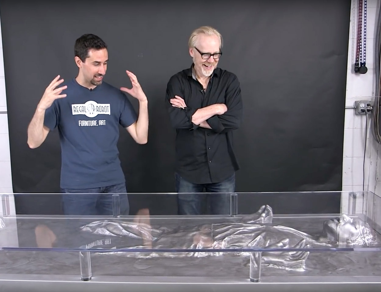 Tom Spina and Adam Savage with Han Carbonite Desk