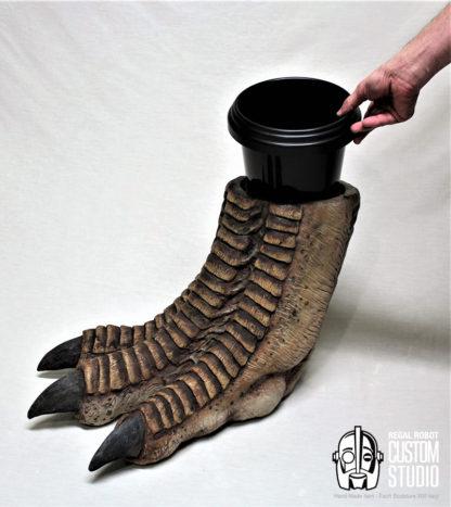 t-rex foot sculpture waste basket prop