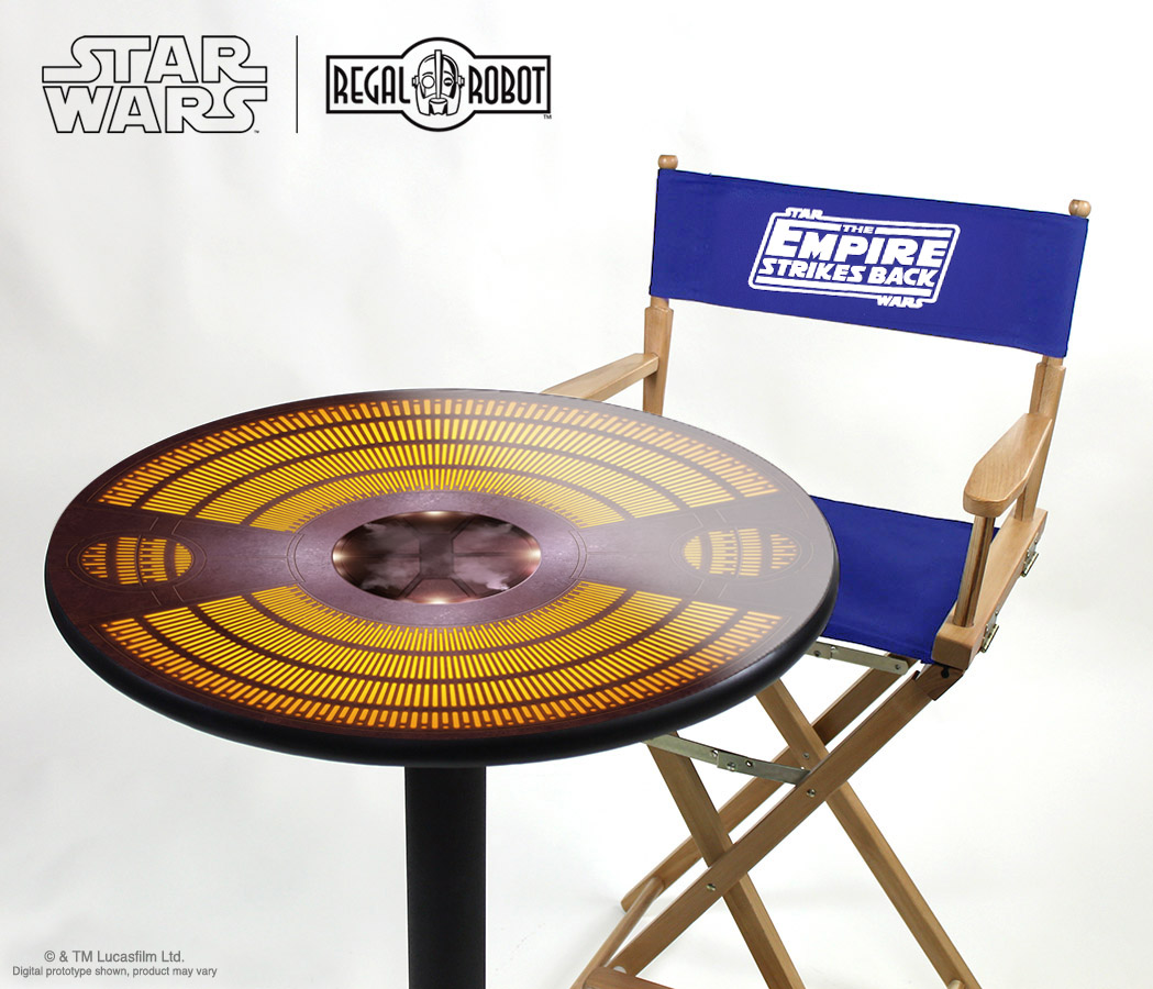 Star Wars Bespin furniture, themed tables by Regal Robot.