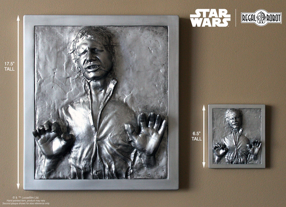 Scaled Han Solo in Carbonite figure plaques for wall decor