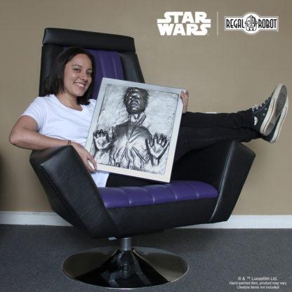 Han Solo Carbonite prop wall art and Emperor Throne