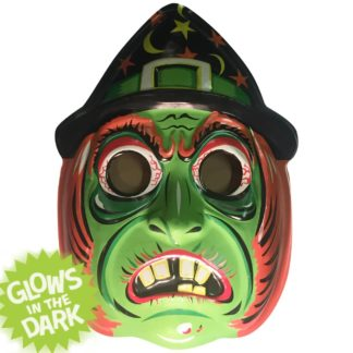 70's plastic witch mask wall art